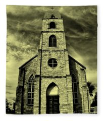 Old St. Mary's Church In Fredericksburg Texas In Sepia Fleece Blanket