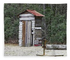 Old Time Outhouse And Pitcher Pump Fleece Blanket