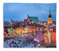 Old Town In Warsaw At Night Fleece Blanket