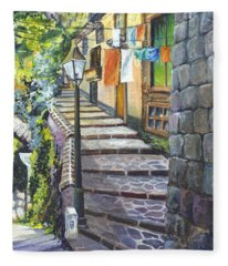 Old Village Stairs - In Tuscany Italy Fleece Blanket