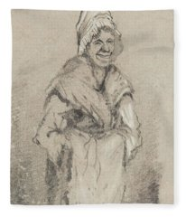 Old Woman From Normandy Full Face Pencil On Paper Fleece Blanket