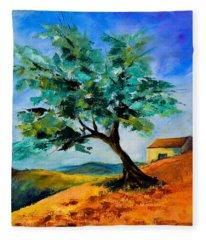 Olive Tree On The Hill Fleece Blanket