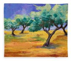 Olive Trees Grove Fleece Blanket