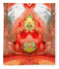 Om - Red Meditation - Abstract Art By Sharon Cummings Fleece Blanket