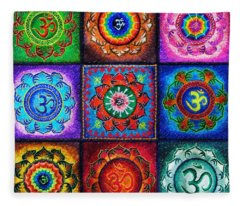 Om Squared Fleece Blanket