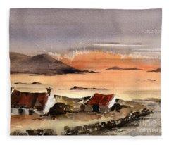 Omey Island Sunset Galway Fleece Blanket