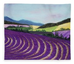 On Lavender Trail Fleece Blanket