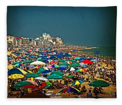 On The Beach In August Fleece Blanket