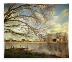 On The River Side Fleece Blanket