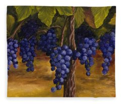 Fleece Blanket featuring the painting On The Vine by Darice Machel McGuire