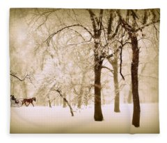 One Horse Open Sleigh Fleece Blanket