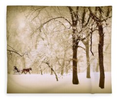 One Horse Open Sleigh Fleece Blanket