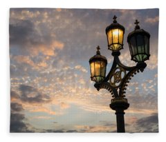 One Light Out - Westminster Bridge Streetlights - River Thames In London Uk Fleece Blanket