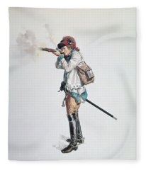 One Of Washingtons 3rd Continental Dragoons Wc On Paper Fleece Blanket