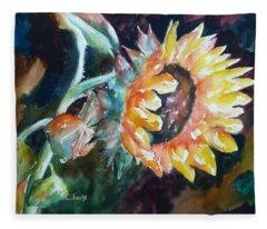 One Sunflower Fleece Blanket