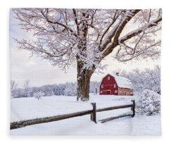 One Winter Morning On The Farm Fleece Blanket