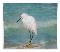 One With Nature - Snowy Egret Fleece Blanket