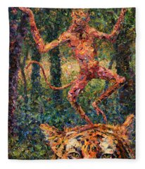 Only A Crazy Monkey Dances On A Tiger's Head Fleece Blanket