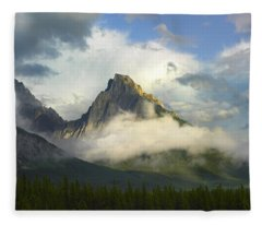 Opal Range In Fog Kananaskis Country Fleece Blanket