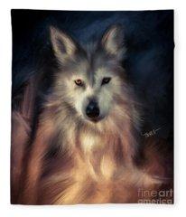 Wolf Art Animal Portrait  Fleece Blanket