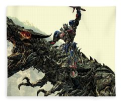 Optimus Prime Riding Grimlock Fleece Blanket