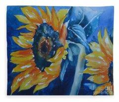 Orange And Blue Fleece Blanket