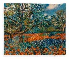 Orange And Blue Flower Field Fleece Blanket