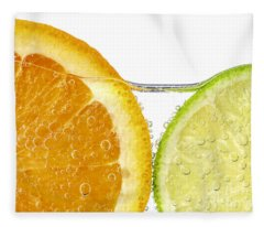 Orange And Lime Slices In Water Fleece Blanket