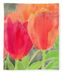 Orange And Red Tulips Fleece Blanket
