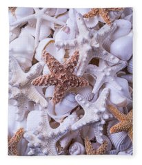 Orange And White Starfish Fleece Blanket