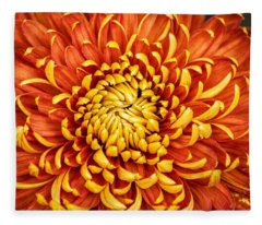 Orange And Yellow Mum Fleece Blanket