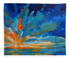 Orange Blue Sunset Landscape Fleece Blanket