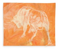 Orange Bull Negative Fleece Blanket