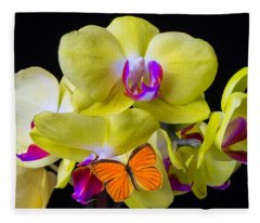 Orange Butterfly And Yellow Orchids Fleece Blanket