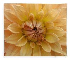 Orange Dahlia Closeup Fleece Blanket