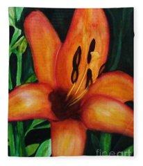Beautiful Lily Flower Fleece Blanket