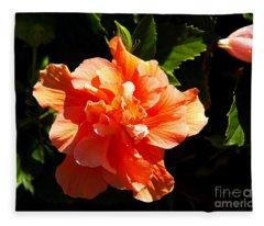 Orange Hibiscus Fleece Blanket