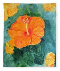 Orange Hibiscus Fleece Blanket