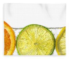 Orange Lemon And Lime Slices In Water Fleece Blanket