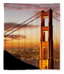 Orange Light At Dawn Fleece Blanket