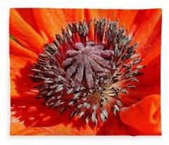 Orange Poppy Fleece Blanket