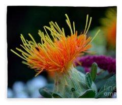 Orange Safflower Fleece Blanket