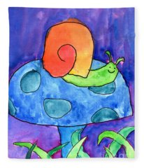 Orange Snail Fleece Blanket