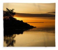 Orange Sunrise Fleece Blanket