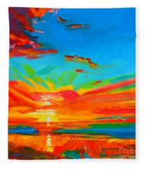 Orange Sunset Landscape Fleece Blanket
