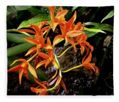 Orange Tendrils Fleece Blanket