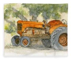 Orange Tractor Fleece Blanket