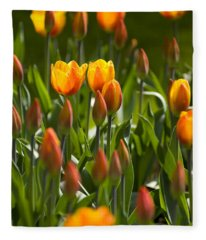 Orange Tulips Fleece Blanket