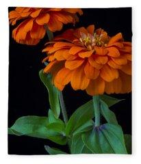 Orange Zinnia Fleece Blanket