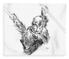 Orangutan Baby 2 Fleece Blanket